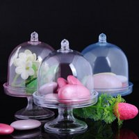 Wholesale Baby Cakes Tray - 100pcs lot Candy Boxes Tray Stand Favors Holders Great Party Decoration Gifts Mini Plastic Cake Stand Baby Shower Gift ZA3412