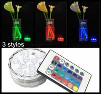 base de luz de jarrón sumergible led al por mayor-Edison2011 10 LED Multicolor Sumergible Impermeable Banquete de boda Té Floralytes Florero Base Light Blub Control remoto Caliente