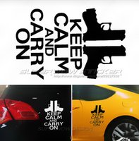 Wholesale Keep Calm Decal - Gun keep calm and carry on Two gun pistol alert car stickers Personalized decals Colorful Waterproof