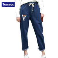 Wholesale Women Pattern Winter Trousers - Wholesale- 2017 Winter High Quality Kawaii Puppy Embroidery Elastic Waist Jeans Woman Trousers Nine Pants Denim Street Harem Pants 2 Colors