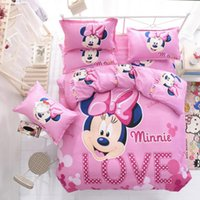Wholesale Cotton Sheets For Kids Cartoons - Wholesale 1.5m bed cartoon bedding sets for children fashion cute Mickey Mouse Cartoon Bedding Set Kids with Duvet Cover Bed Sheet set