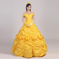 Wholesale Movie Costumes For Adults - OISK Custom Beauty and Beast belle princess dress for christmas halloween women adult size costume Party gown ball Best Quality
