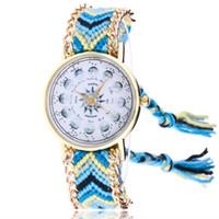 Wholesale round friendship bracelets - Women Fashion Brand Handmade Braided Rope Friendship Bracelet Watch Ladies Quartz 8 Colors luxury watches reloj Wholesale