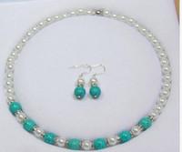 Wholesale Turkey Turquoise - 8-10mm White Akoya Shell Pearl &Turkey Turquoise Beads Necklace Earrings Set