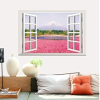60 * 90 centímetros de 3D Fake Windows impermeável Wall Wallpapers papel de parede arte AY9234 Romantic Flowers