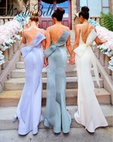 Wholesale Satin Big Wedding Dresses - 2018 Mermaid Long Bridesmaid Dresses Sexy Backless Spaghetti Straps With Big Bow Sash Prom Wedding Guest Dresses Evening Gowns