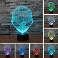 Wholesale Table Plastic Children - 3D Popular Alien LED RGB Colorful Gradient Desk Night Light Table Lamp Home Cafe Bar Mall Bedroom Decor Child Family Friend New Year Gifts