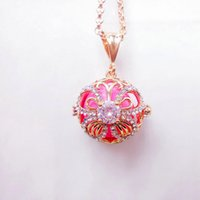 Wholesale Brass Chimes - Cubic Zircon Pearl Cage Pendant Necklaces Gold Hollow Butterfly Pattern Pregnancy Ball Pendants Baby Chime Diffuser Lockets Necklace