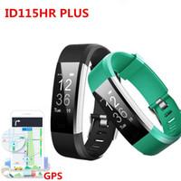 Wholesale Gps Sport Heart - ID115HR PLUS Smart Wristband Sports Heart Rate Smart Band Fitness Tracker Bracelet Smart Watch GPS ID115 PLUS