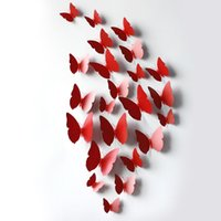 Wholesale Colors Television - Wholesale 13 Colors 12pcs set 3d Butterfly Wall Stickers Artificial Butterflies Decoration Pvc Removable Wall Stickers In Stock