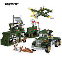 Wholesale Enlighten Aircraft - 687PCS Military Base Mobile Combat Vehicle Aircraft Model Bricks Army Soldier Search Dog Toy For Boy's Compatible Enlighten