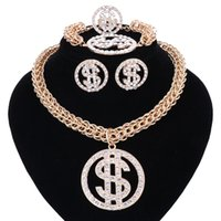 US Dollar Money NecklacePendant Gold Silver Color Chain Para Mulheres / Homens Rhinestone Hip Hop Bling Bracelet Earring Ring Jewelry Sets