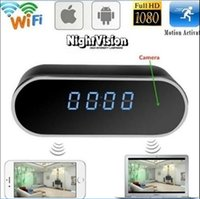 Wholesale Spy Camera Motion Wifi - Spy camera Z10 wireless LCD clock Camera Night vison 1080P HD 140 degree lens Wifi Hidden Cameras P2P Clock Video recorder motion detect