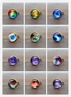 Wholesale bronze cabochon ring settings - Wholesale ! Hot! 10pcs Galaxy Space Glass Cabochon Vintage Ring Bronze Copper Rings for Women Jewelry Adjustable