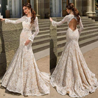 Wholesale full neck long fitting dress resale online - Full Lace Mermaid Wedding Dresses Bodice Fitted Long Sleeve Backless Open Back Trumpt Ivory Lace Sweep Train Wedding Dress Bridal Gowns