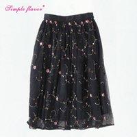 Wholesale Korean Ladies Long Skirts - Rose Floral Embroidery Women Tulle Skirt High Waist 2017 Summer Korean Ladies Skirts Womens Saia Maxi Long Mesh Tutu Skirt C3249
