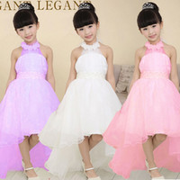 Wholesale Trailing Sash - 2017 New Fashion Girl Dress High Quality Beautiful Trailing Princess Gown Dress Kids Wedding Party Dress Children's Clothers Free Shipping