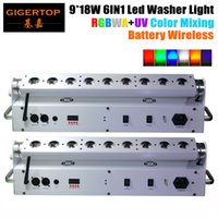 Wholesale Usa Battery Sales - TIPTOP Hot Sale 2XLOT 9*18W 6in1 RGBAW UV Battery Powered Wireless DMX512 LED Wall Washer Light ,Wifi Stage Washer White Housing