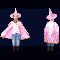 kıyafet süsü toptan satış-Cadılar Bayramı Kostümleri Çocuklar Hat Robe Cap Giydirme Çocukları Cadı Sihirbazı Pelerin Önlükleri ve Çocuklar İçin Kostüm Partisi Dekorasyonu Noel