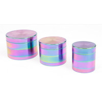 Wholesale Cheap Piece Grinders - Metal Herb Grinder 4 Piece Cheap Tobacco Grinder Magentic Designed 50mm Rainbow Color Metal Zinc Alloy Grinder Herb 5916IB