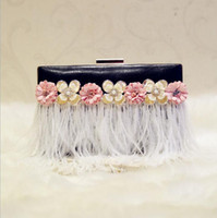 Wholesale Clutch Bags For Girls - 2017 luxury handmade feather tassel evening bags handmade women clutch wallets mini wedding party bags for girls 2 colors MN258