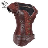 Wholesale Plus Size Belly S - Corsets and Bustiers Slimming Steampunk Corset Gothic Brown Corsages Sexy Corzzet PU Leather Buckle Belly Slimming Sheath S-6XL