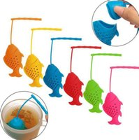 Wholesale Wholesale Fish Bags - Cute Fish Shape Tea Infuser Silicone Strainers Tea Strainer Spice Herbal Infuser Filter Empty Tea Bags Diffuser Accessories