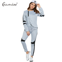 Wholesale Black Block Clothing - Wholesale- Gamiss 2016 Women Tracksuit Autumn Winter Hooded Jacket Color Block 2 Piece Sport Set Outdoor Running Workout Clothes Outfit