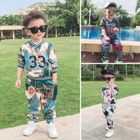 Wholesale Wholesale Sweat Outfits - Spring Autumn Baby Boy Outfits Printed Sweater T-shirt Tops pants trousers casual suit sweat suit tracksuit Sports Set kids Clothing A227