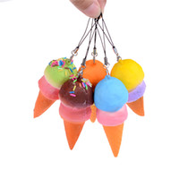 Wholesale Wholesale Old Cell Phones - Wholesale- 8cm Slow Rising Cell Phone Straps Bread Cute Soft Jumbo Ice Cream Cone Squishy Antistress Scented Key Pendant Charms Kids Toys
