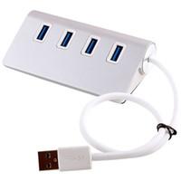 ordinateur le plus rapide achat en gros de-Qualité En Aluminium HUB USB3.0 à 2 USB 3.0 Rapide Vitesse 4 Ports Notebook Splitter Extender pour Tablette Périphériques Argent