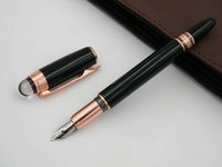 Wholesale new art heading online - NEW MB metal offce Black Wth Rose Golden Clip Crystal Head Fountain Pen