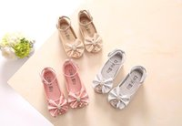 Wholesale Rhinestone Bow Shoes Girls - lowest price;Children Princess Shoes Pink  Gold Silvers Band Soft Sole PU Leather Fashion Bowknot Rhinestone Flower Girls Dress Shoes