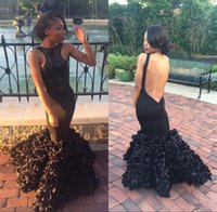 Wholesale African Hand Made Bead - New African Sexy Backless Black Girl Mermaid Dresses Evening Wear Prom Party Evening Gowns with Beads Rose Flowers Train Celebrity Dresses