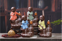 Wholesale small figurines - Ceramic Buddha Incense Burners Small Buddha Porcelain Figurine Quemador Incienso Cone Incense Censer Craft Home Decor