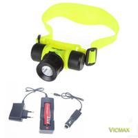 Wholesale head light diving resale online - 2000LM T6 Diving head lamp Waterproof Headlight Led Lighting LED Headlamp flashlight light Torch battery AC charger