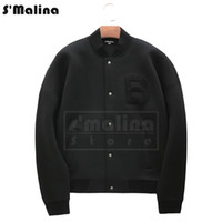 Wholesale Free Baseball Bats - Free shipping fashion design letter B Chest flock Patch Black coat baseball jacket cotton DH016