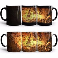 Wholesale Temperature Change Cups - Lord Of The rings Cup For Central Mainland Map Magic Cups Color Change Mug Temperature Induction Coffee Ceramic Mugs 11 5yo