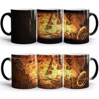 cambio de anillo magico al por mayor-Señor de los anillos taza para el mapa central continental tazas mágicas tazas de cambio de color tazas taza de café de cerámica de inducción temperatura 11 5yo
