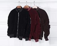Wholesale Velvet Woman Jackets - Wholesale- 2016 fashion Kanye West Oversized Jackets Vintage Wine Red men women Velvet Fabric Pleated Sleeve Designer Bomber Jacket Coats