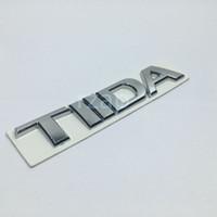 emblema tiida venda por atacado-Emblema Do Carro 3D Para Nissan Tiida Carta Logotipo Prata Auto Traseira Tronco Nome Crachá Placa Adesivo
