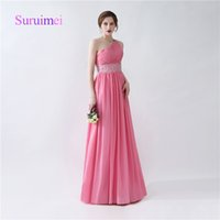 Wholesale sweetheart one shoulder dress - Hot Sale Prom Dresses Vestidos De Noiva One Shoulder with Crystal Chiffon Evening Dresses Party Gowns
