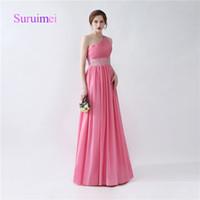 Wholesale modern chiffon short bridesmaid dress - Hot Sale Prom Dresses Vestidos De Noiva One Shoulder with Crystal Chiffon Evening Dresses Party Gowns