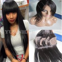 Wholesale Top Closure Bangs - Hot Selling 8A human hair lace closure 3.5x4 freestyle top closure 130 density silky straight Chinese hair closure with bangs free shipping
