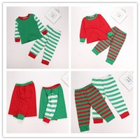Wholesale Sleepwear T Shirts Cotton - Kids Long sleeves Christmas pajama sets pure color T shirt + striped pants 2colors 5sizes kids cotton sleepwear Xmas clothing suits