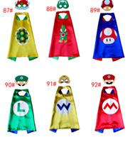Wholesale Mario Bros Star - 6design Super Mario Bros Yoshi Koopa of children Cape & Mask L70*W70CM Double Side cape + mask set