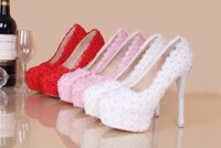 Wholesale Red Bling Heels - Bling Bridal Wedding Shoes Ankle High Heel Court Shoes Beautiful Sparkling Pearl Lace Party Nightclub Pumps
