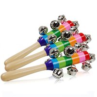 Wholesale Preschool Music - Wholesale- Baby Rattles Colorful Bell Puzzle Rainbow Hand Ring Baby Infant Toddler Bed Bell Music Developmental Educational Preschool Toys