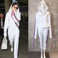 Wholesale Oversized Letters - Europe High Quality Fashion Collaboration Kendall Jenner Fan Made Long Sleeve Oversized Jersey Hooded Top Sweatshirts Hoodie Pants Tracksuit