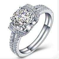 Wholesale brilliant solitaire - Romantic Marriage Ring 1Ct Round Cut Synthetic Diamond Wedding Female Ring Solid 925 Sterling Silver Ring Brilliant Forever Jewelry